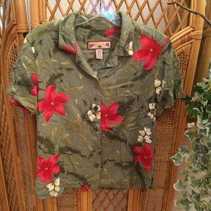 Vintage Short Sleeve Button Up Crop Top
